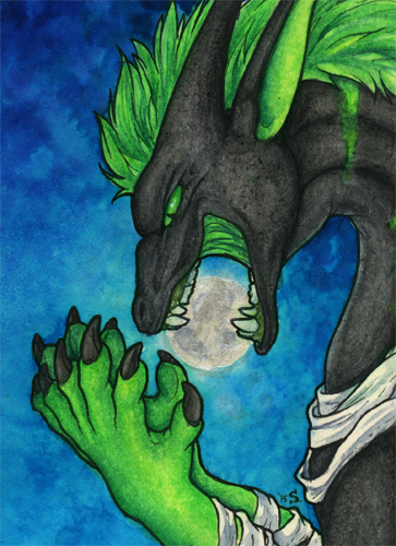 ACEO/ATC: ...and the Dragon Ate the Moon