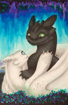 FanArt: Toothless and white night fury girlfriend by Samantha-dragon