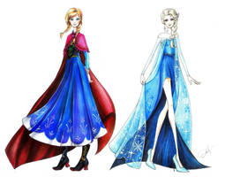 Elsa and Anna fashion style by AnALIBI