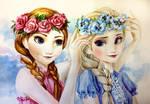 Elsa and Anna summer fun by AnALIBI