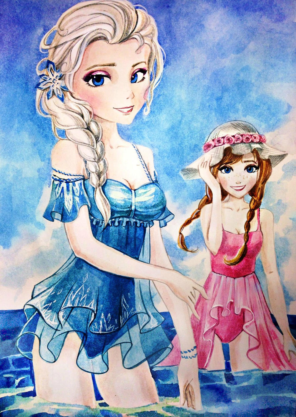 Elsa And Anna Swimsuit By AnALIBI On DeviantArt