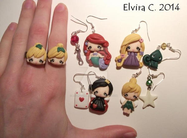 Disney polymer clay earrings by elvira-creations