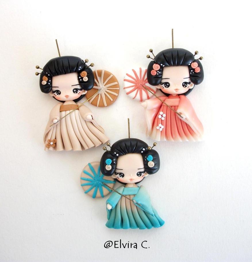 Geisha necklace work in progress by elvira-creations