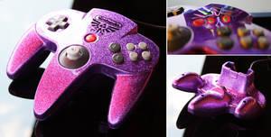 custom majoras masko purple flake N64 controll