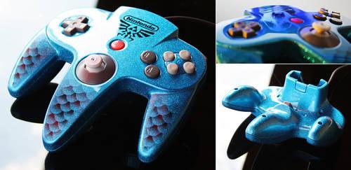 custom zora-blue flake N64 controller