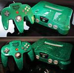 custom Zelda Nintendo 64 green flake finish