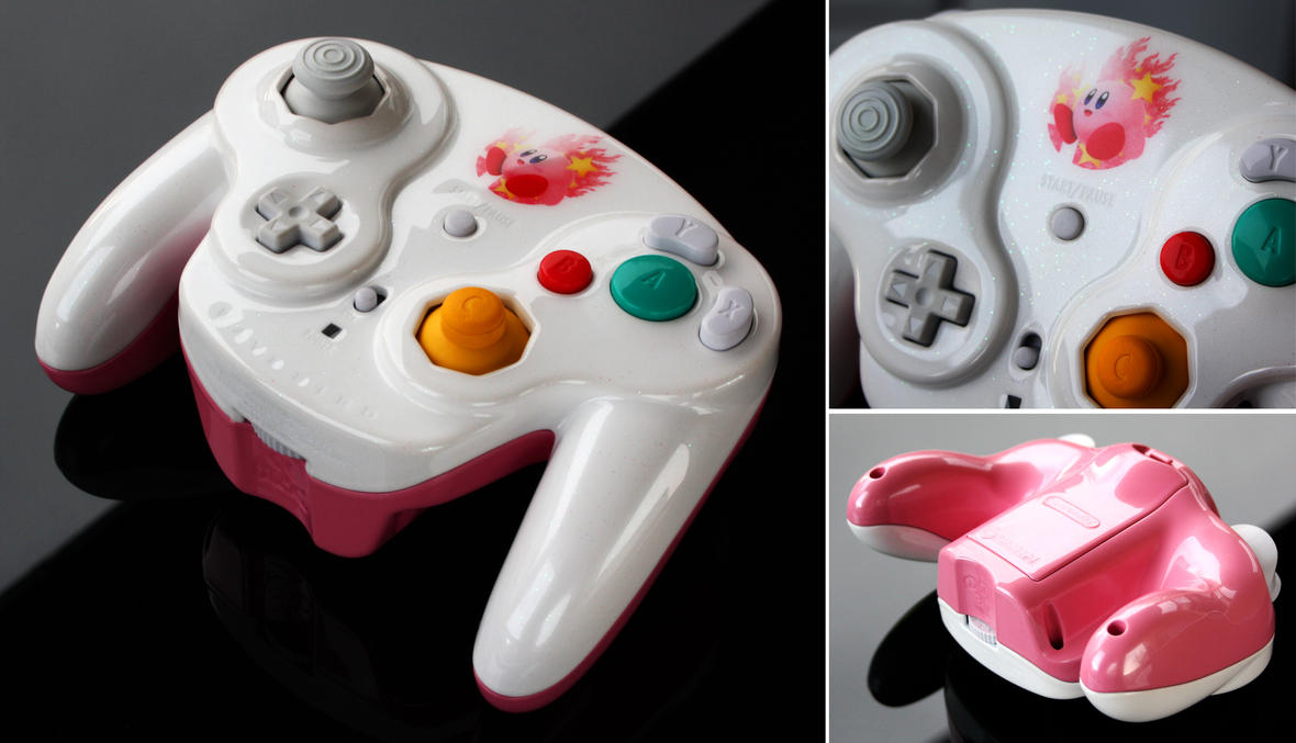 custom Kirby GC controller with pearls and iridesc by ...