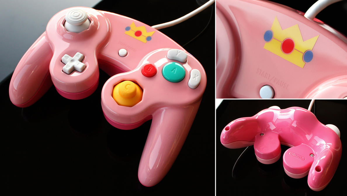 custom Peach gamecube contoller by Zoki64