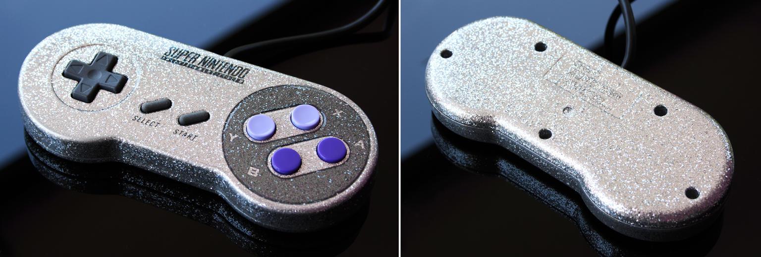 custom silver flake SNES controller by Zoki64