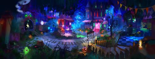 Spooky castle by Wilgefortis