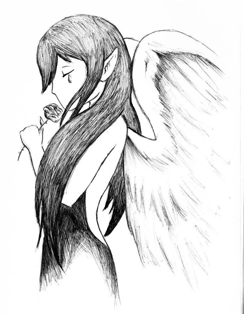 Crying Angel Sad Angel Girl Crying Drawing Girl Drawing Easy
