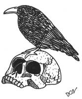 Crow on a Skull by DCZShostkey87259