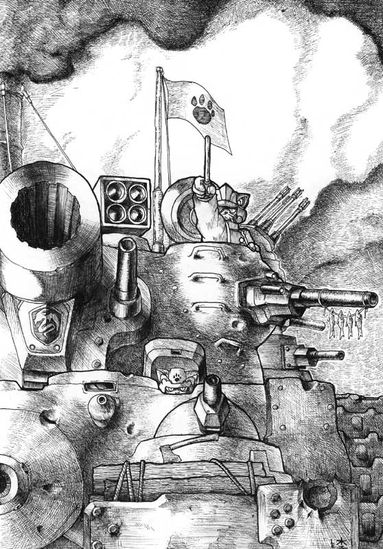 Old work:Cat multi-turret tank by odaleex
