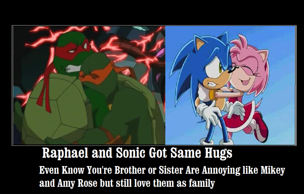 Raphael and sonic got same hugs by newsuperdannyzx on deviantart