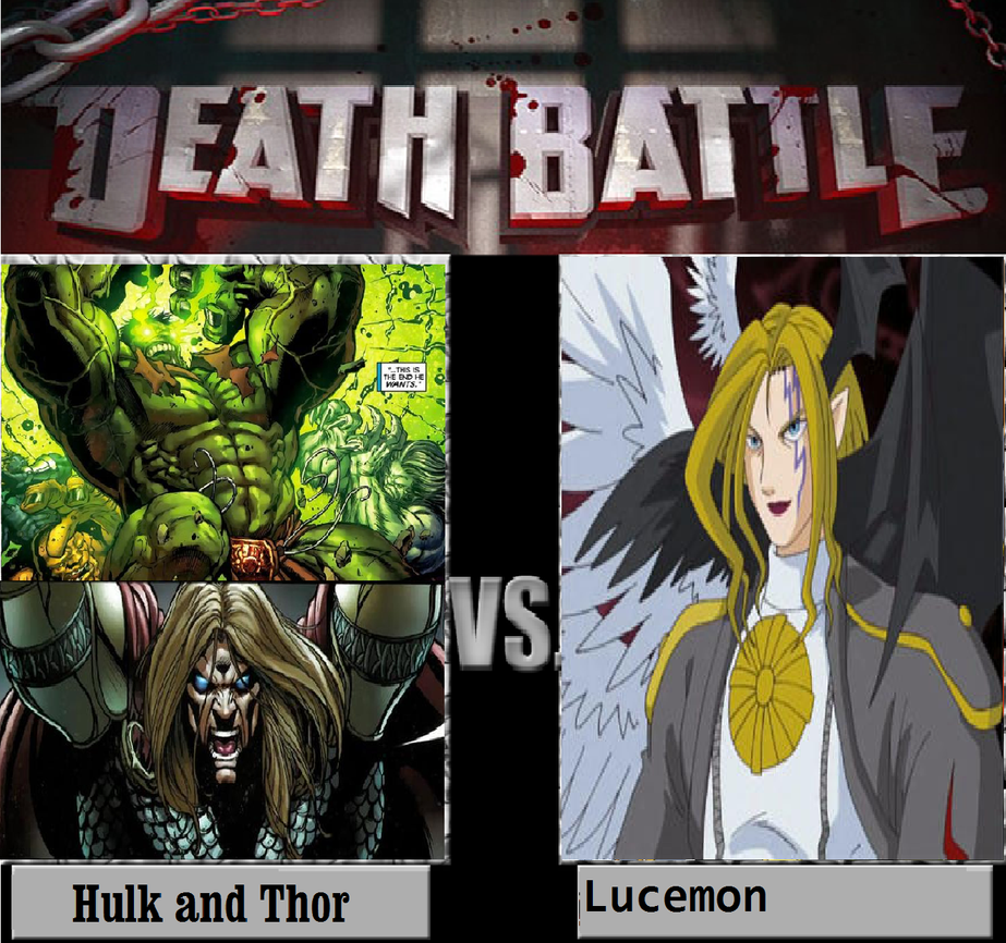 Hulk and Thor Vs Lucemon by newsuperdannyzx