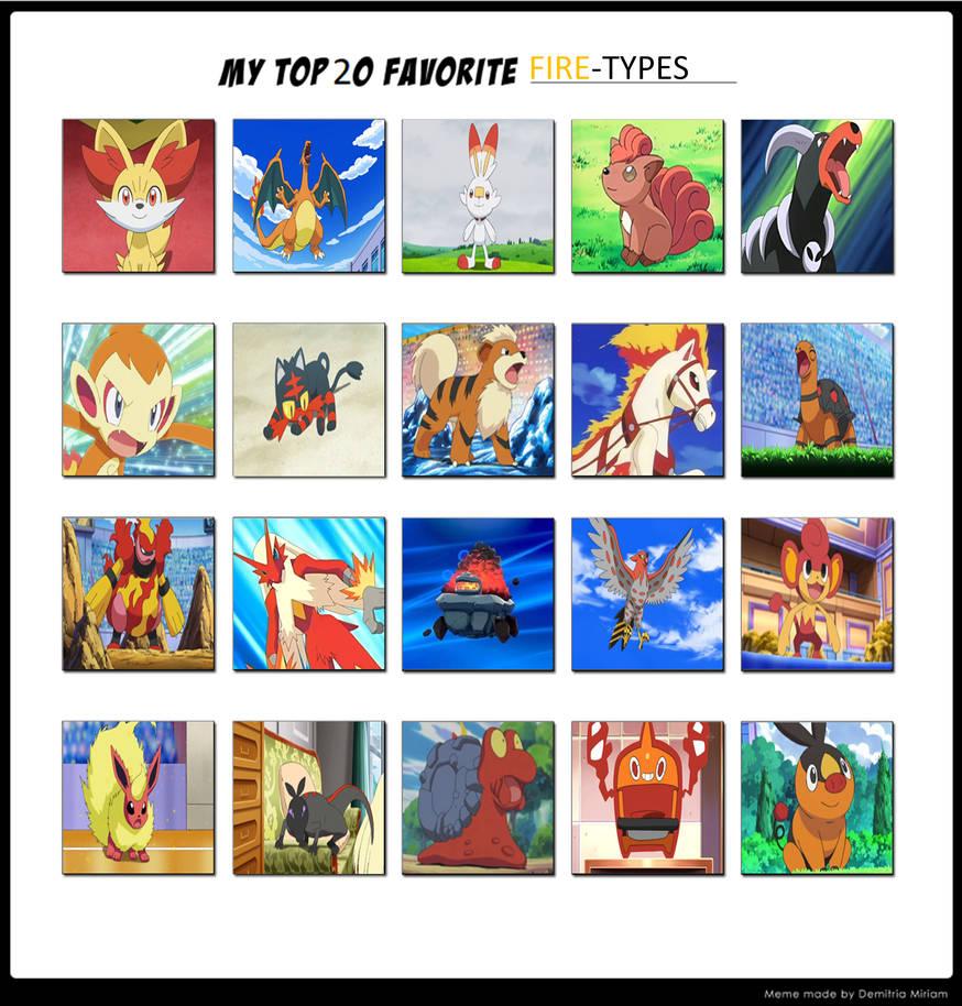 My Top 20 Favourite Fire Type Pokemon By Thetrainmrmenponyfan On Deviantart