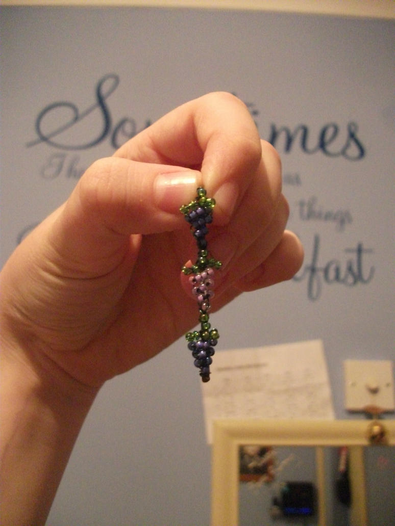 homemade 'bunches of grapes' bobby pin by UndertakerisEpic