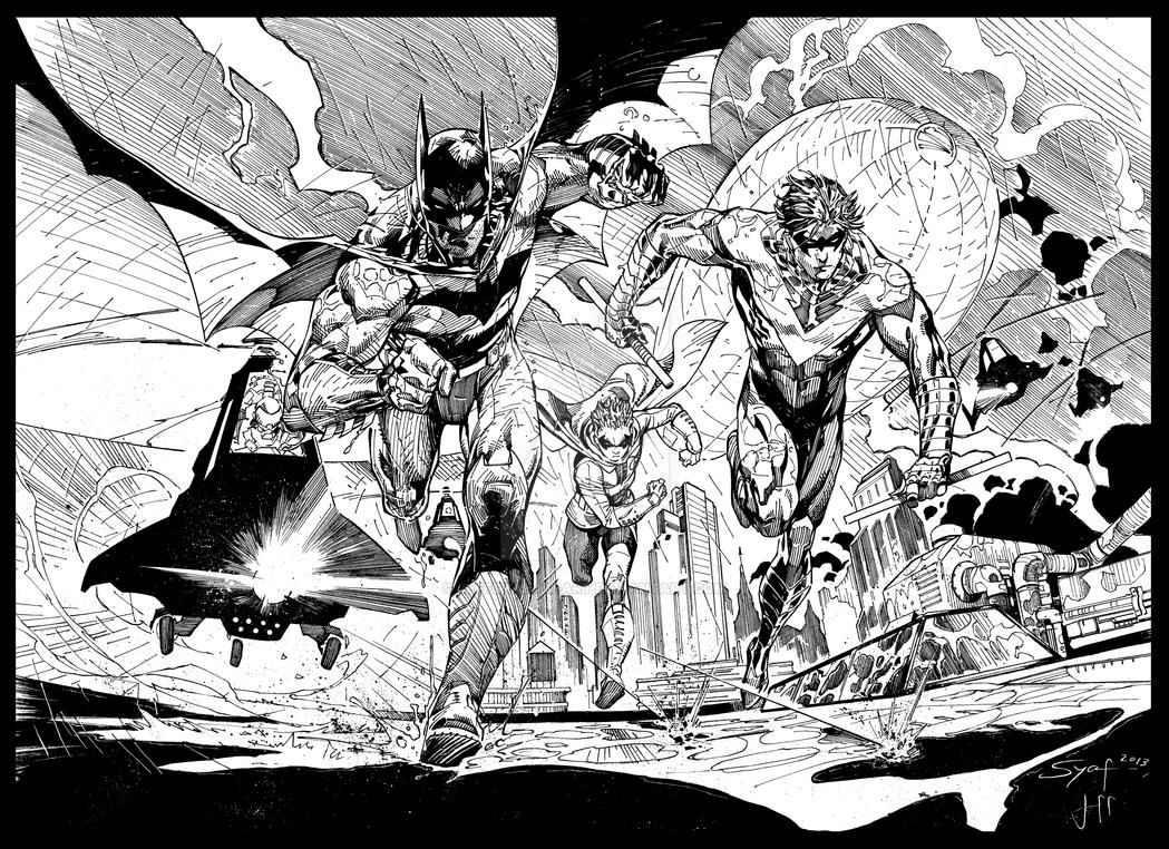 Syaf Bat Group Under Fire - inks COMPLETE by JeffGraham-Art