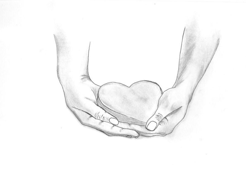 Hand Sketch of hands holding a heart. | Things to draw ...