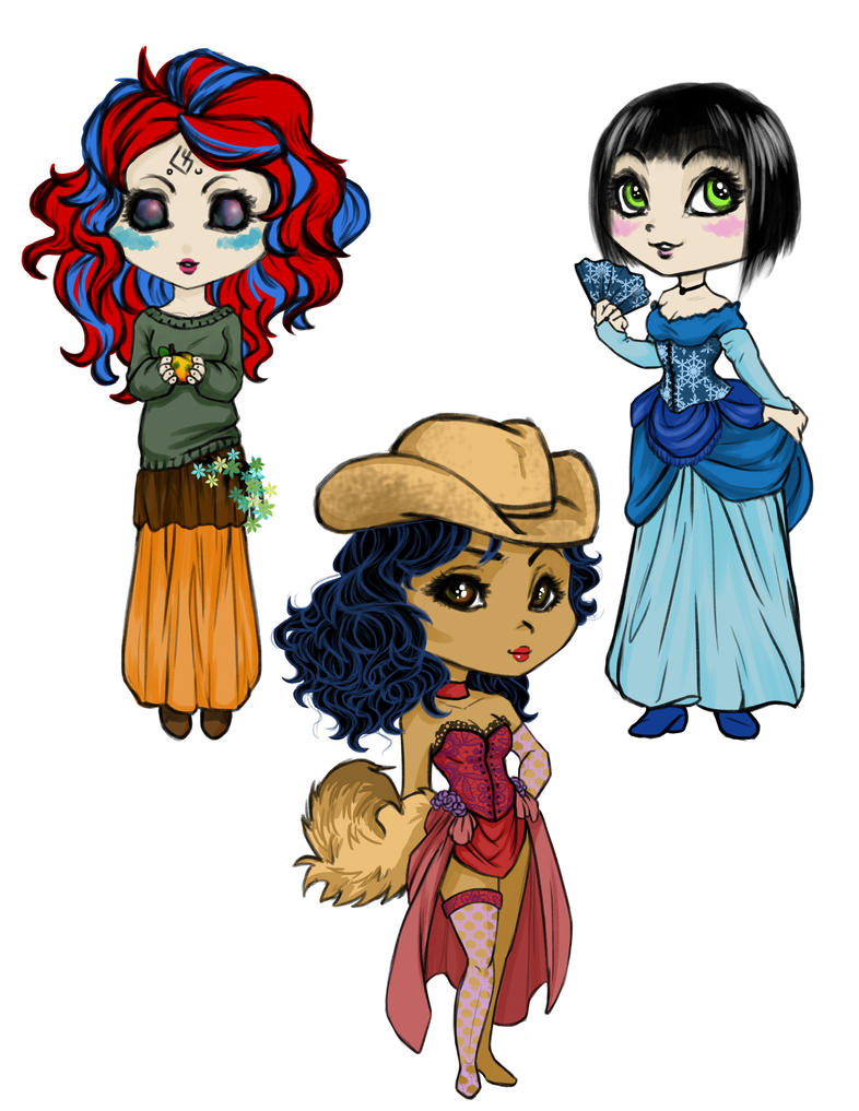 Clara, Amelia and Roka by AraRouge