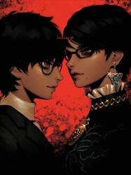 Joker vs. Bayonetta by bellhenge