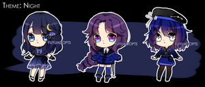 [Points Auction] Night Theme Adoptables [3/3 OPEN] by FuyuAdopts