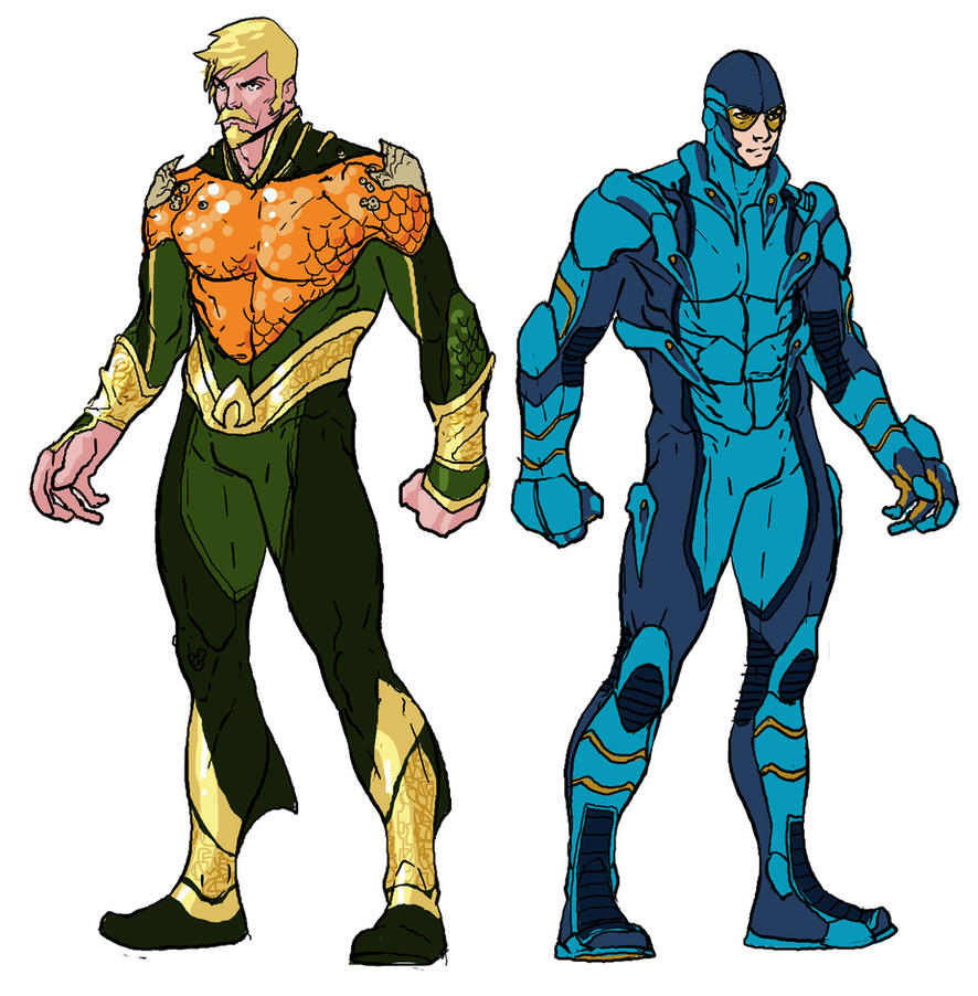 Aquaman and Blue Beeeeetle redesign by RansomGetty