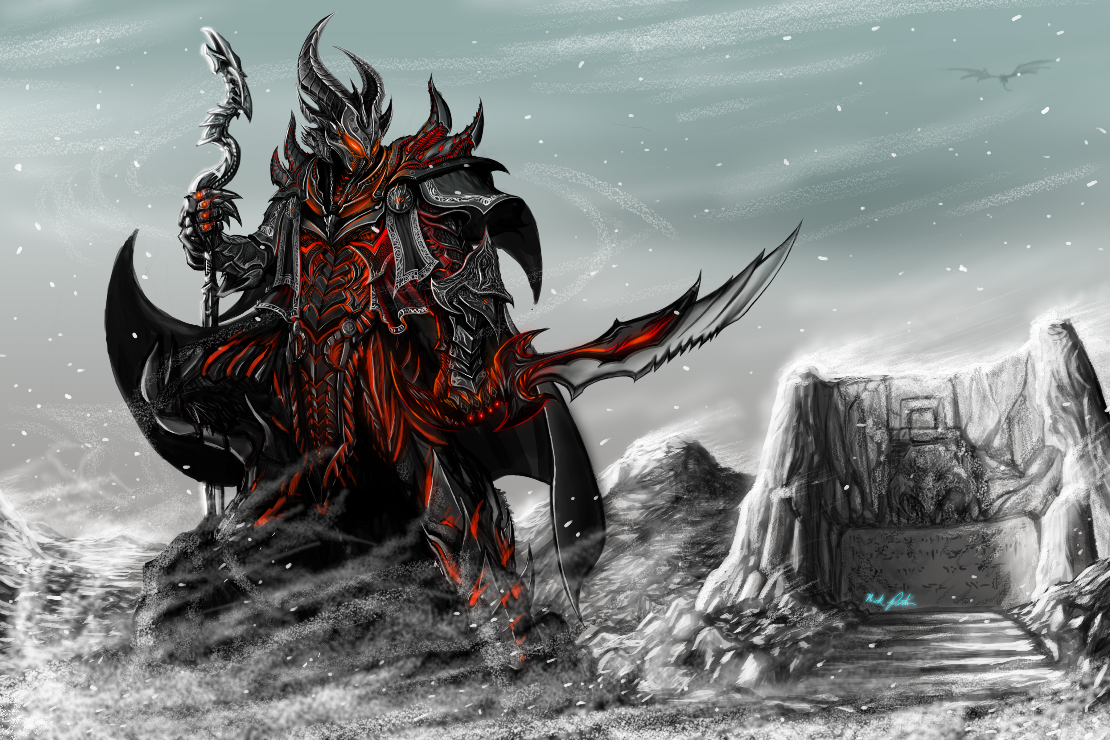 Skyrim merry christmas by partin arts on deviantart for Cool christmas art