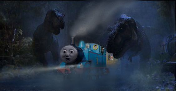 Thomas In Jurassic Park Uk -2 by dinodanthetrainman