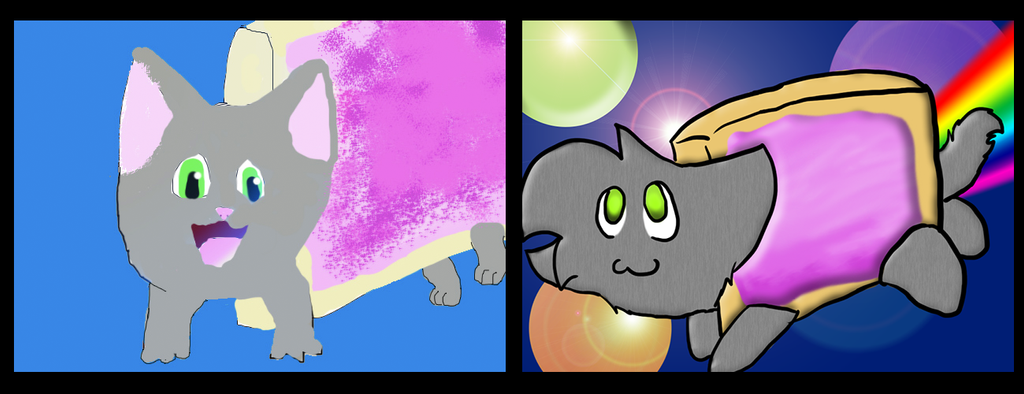 Nyan Cat 2012 to 2013 difference by FlashiePaws