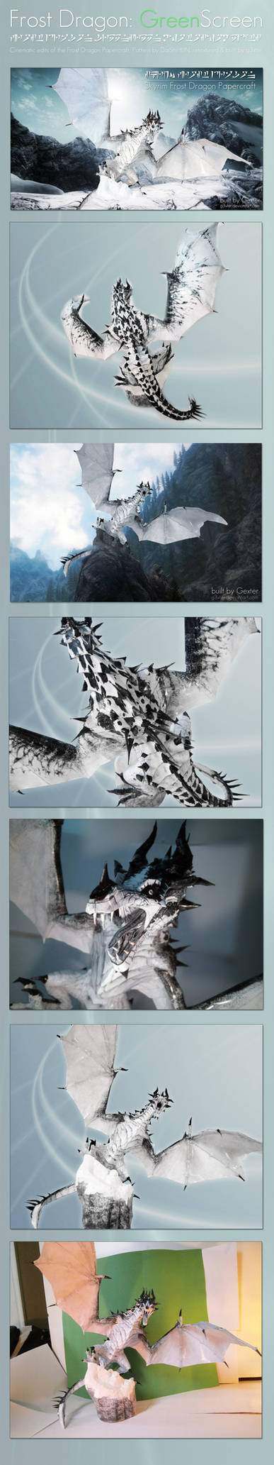 Skyrim Frost Dragon Papercraft - Greenscreen comp.