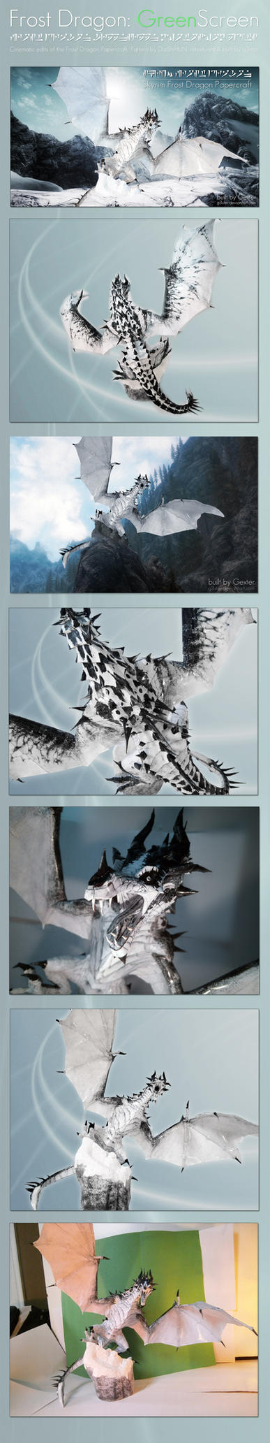 Skyrim Frost Dragon Papercraft - Greenscreen comp. by g3xter
