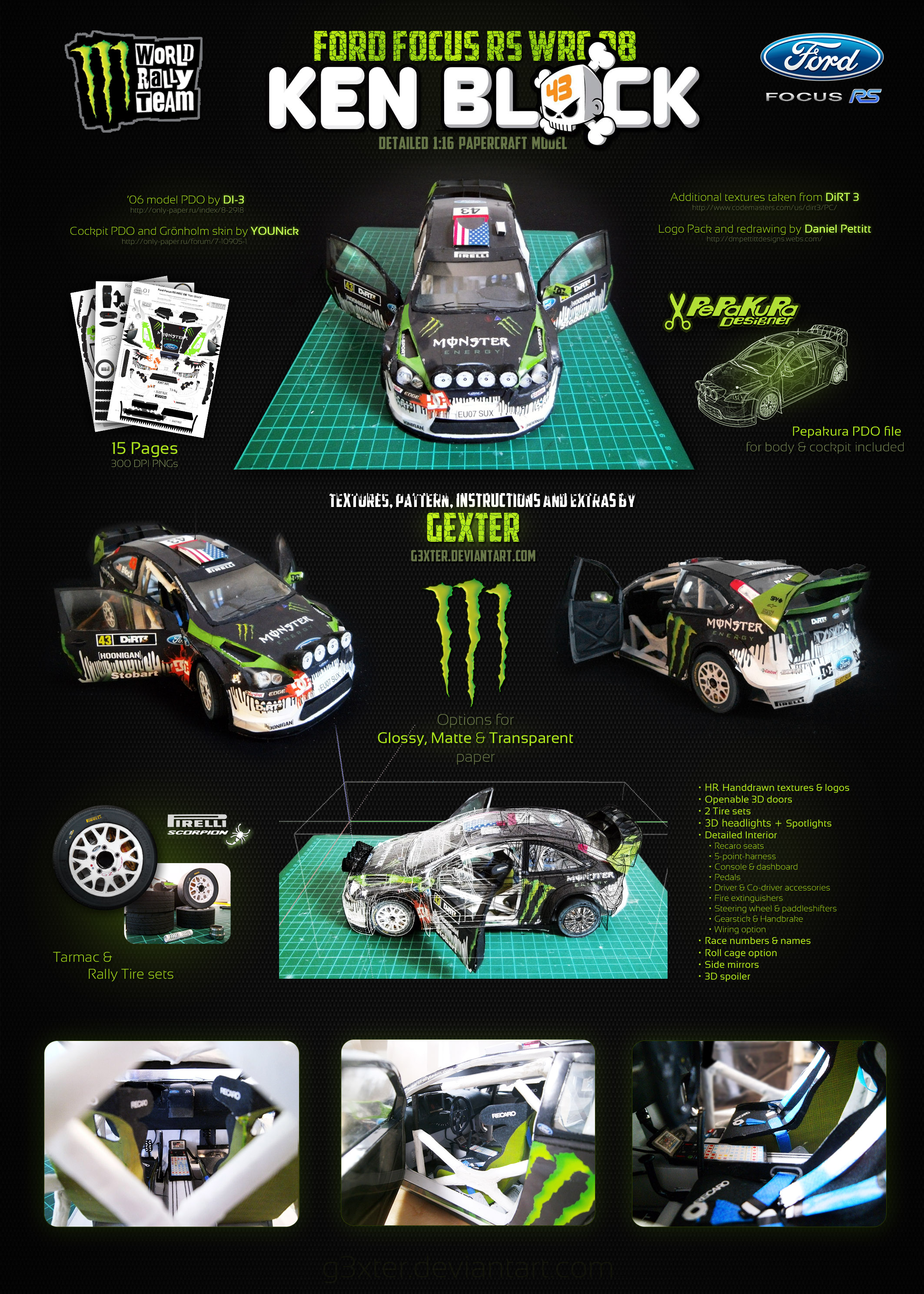 Ford Focus RS WRC 08 'K.Block' Papercraft Template by