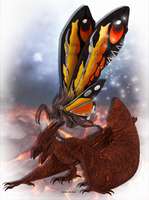 Rodan and Mothra by FreakyRaptor
