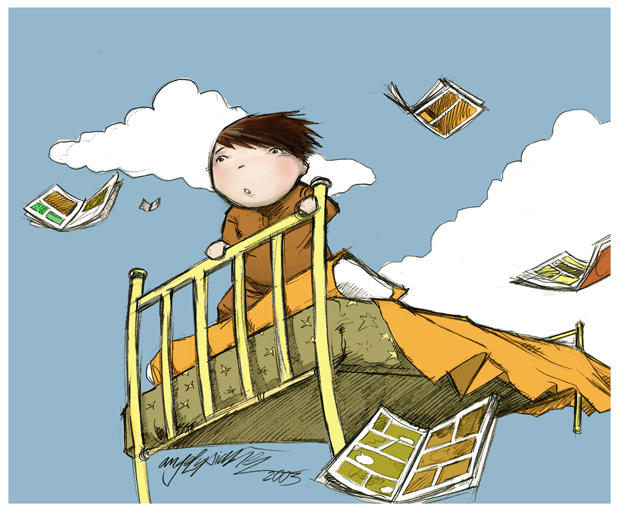 Flying bed by angellupianez on DeviantArt