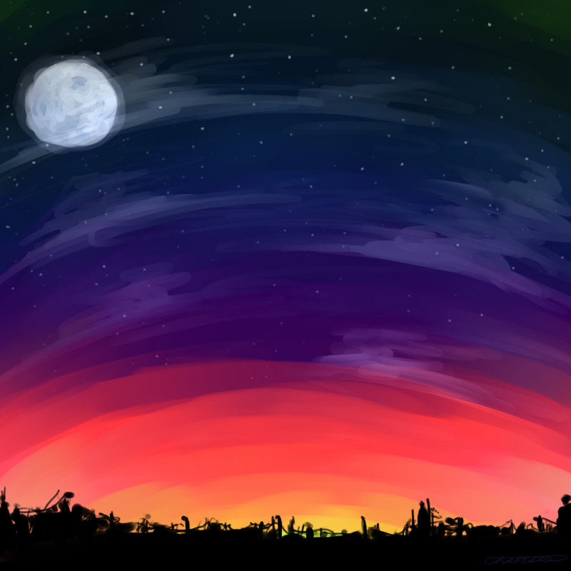 how to draw a sunset sky