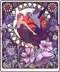Art Nouveau Fairy Hummingbird by littlealliegator