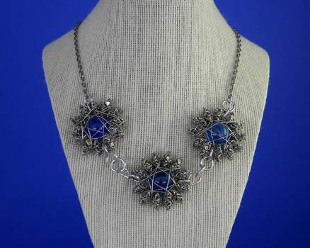Blue swirl marble flower statement necklace