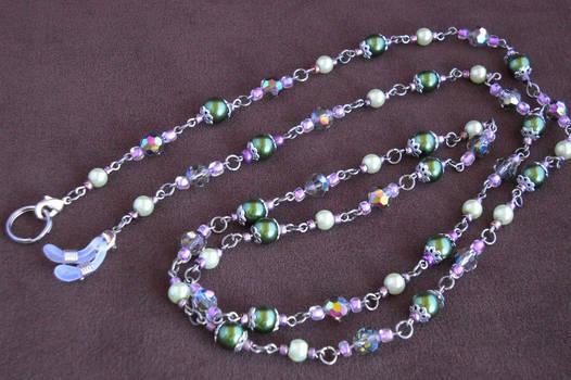 Green, pink and purple eye glass chain