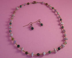 Copper and stone beaded necklace and earrings set
