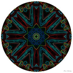 Neon Red Hot Mandala by Artful-Transendence