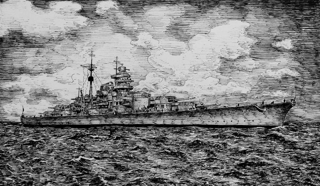 Bismarck battleship by long-haired-lady