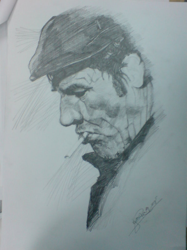 Old Man Smoking Sketch by Ronlau