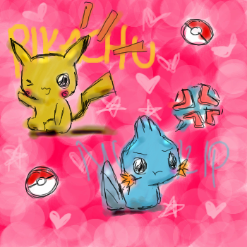 Pikachu and Mudkip by KishiFishy