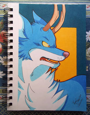 The Angry Blue Beast .:Art-Trade with ErikServin:. by Guajolote-canoso
