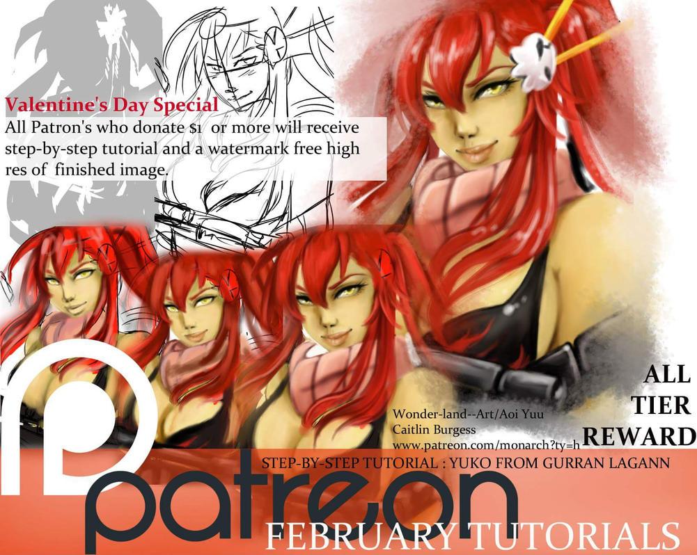 FEBRUARY All Tier Reward: Yuko Tutorial by Wonder-land--Art