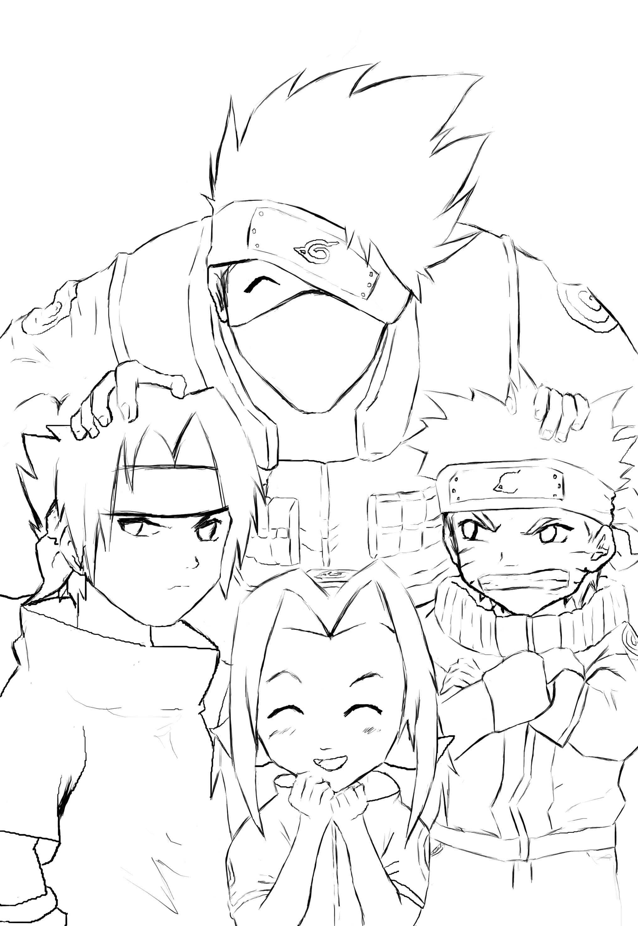 Lineart Naruto : Naruto team lineart by anneleen on deviantart