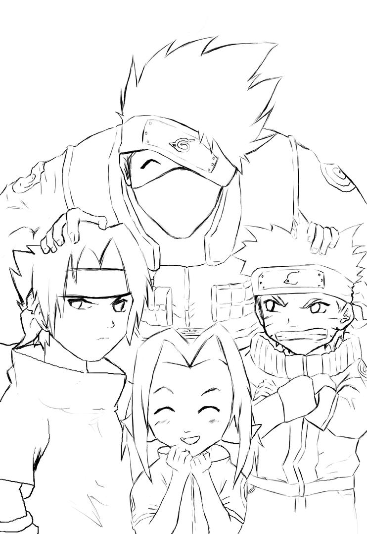 Naruto team 7 lineart by anneleen on deviantart Coloring book naruto