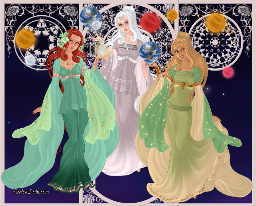 GoddessMaker: Titanesses - Mnemosyne, Phoebe, Rhea by Saphari