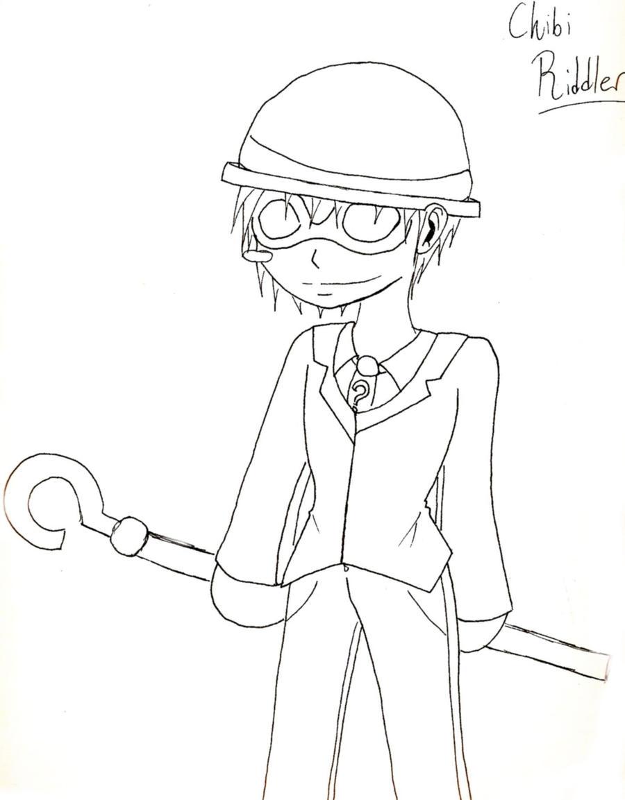 Line Drawing Riddles : Chibi riddler line art by poprocks on deviantart